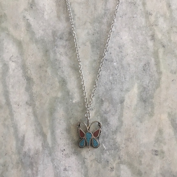 Vintage Jewelry - Vintage Sterling Inlaid Butterfly Necklace